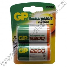 GP D Cell Rechargeable NiMH 2200mAh Battery - 2 per pack