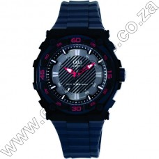 Gw79J002Y QandQ  - Ana - Grey Strp - Blk Face Red Accents -Day Date 10Atm
