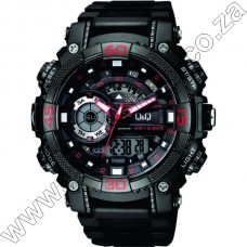 Gw87J002Y QandQ  - Ana + Digi  - Blk Strp - Blk Face Red Accents -Day Date 10Atm - Alrm -S-Watch -Dual