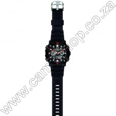 Gw88J003Y QandQ  - Ana + Digi - Blk Strp - Blk Face Red  Accents -Day Date 10Atm - Alrm -S-Watch -Dua