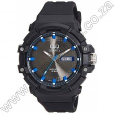 A196J003Y QandQ  - Ana - Blk Strp - Blk Face Blue Accents -Day Date 10Atm