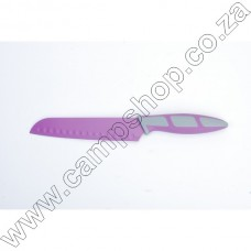 6.5In Purple Santoku Knife Non-Stick Stainless Steel Blade Ergo Handle
