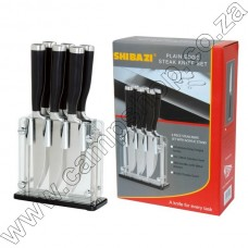 Shibazi 6Pcs Steak Knife Set W-Stand Plain