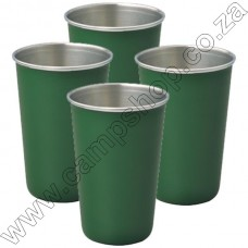 4 x Green Ultratec S-S Safety Tumbler With Brim 200ML