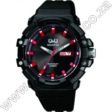 A196J002Y QandQ  - Ana - Blk Strp - Blk Face Red Accents -Day Date 10Atm