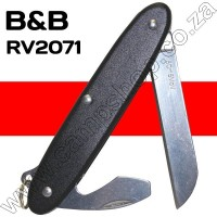 BandB Black 2 Blade Knife Sheepsfoot Blade with Bottle Opener and Screwdriver