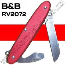 BandB Red 2 Blade Knife Sheepsfoot Blade with Bottle Opener and Screwdriver