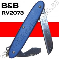 BandB Blue 2 Blade Knife Sheepsfoot Blade with Bottle Opener and Screwdriver