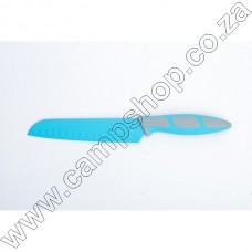 6.5In Blue Santoku Knife Non-Stick Stainless Steel Blade Ergo Handle