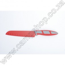 6.5In Red Santoku Knife Non-Stick Stainless Steel Blade Ergo Handle