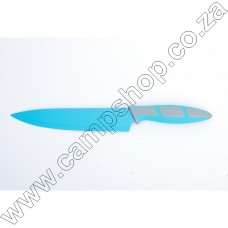 8In Blue Chef Knife Non-Stick Stainless Steel Blade Ergo Handle