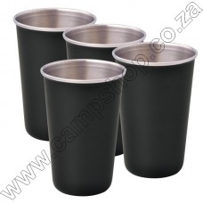 4 x Black Ultratec S-S Safety Tumbler With Brim 200ML