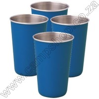 4 x Blue Ultratec S-S Safety Tumbler With Brim 200ML