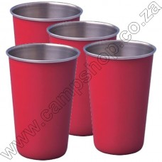 4 x Red Ultratec S-S Safety Tumbler With Brim 200ML